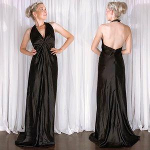 Plus Size After Six Classic Black Satin Prom Dress